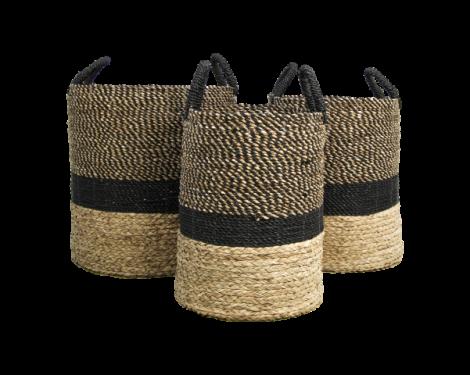 Lot de 3 paniers Malibu - noir/naturel - jacinthe d'eau