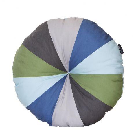 Coussin rond - vert/bleu