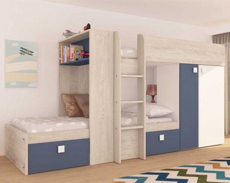 Lit superposé Beau avec armoire & tiroirs - pin/bleu