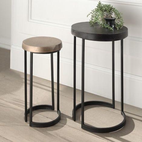 Lot de 2 tables d'appoint Keira - or/noir