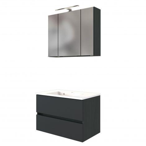 Set meuble lavabo Brama 80cm - graphite/gris mat