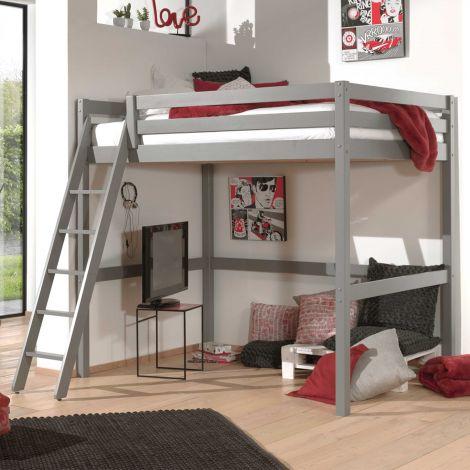 Lit mezzanine Claire 90x200 - gris