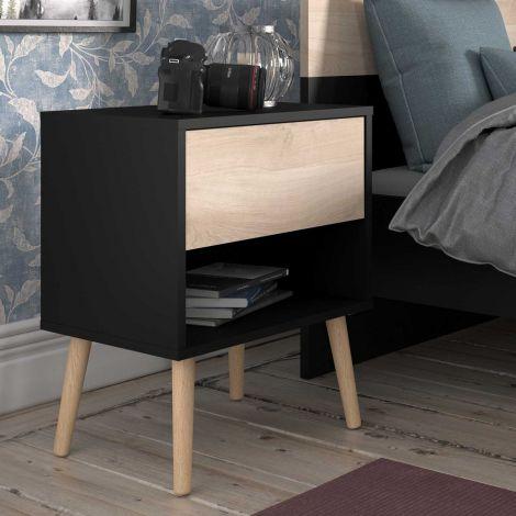 Table de nuit Hardy 44 cm avec 1 tiroir - noir/chêne