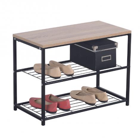 Etagère à chaussures Billy 2 tablettes - métal noir/bois massif