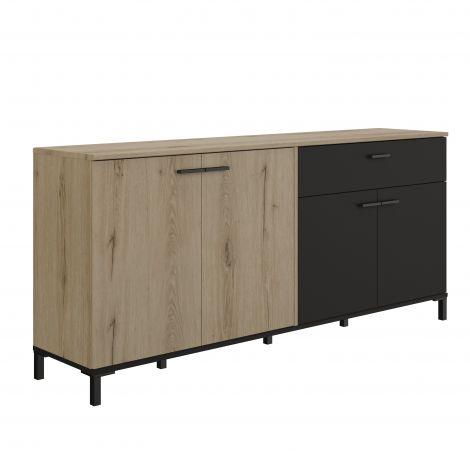 Bahut Tando 180cm industriel - chêne/noir