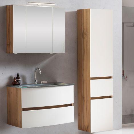 Ensemble salle de bains Kornel 5 à 3 pièces avec vasque grise - chêne/blanc mat