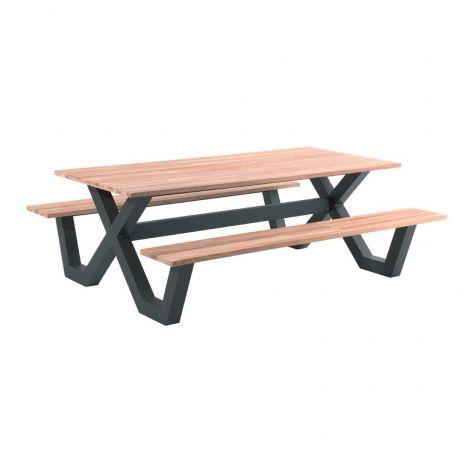 Table de pique-nique Charles 220x100 - noir/teck
