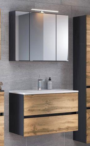 Ensemble salle de bains Luna 2 pièces 80cm - graphite/chêne