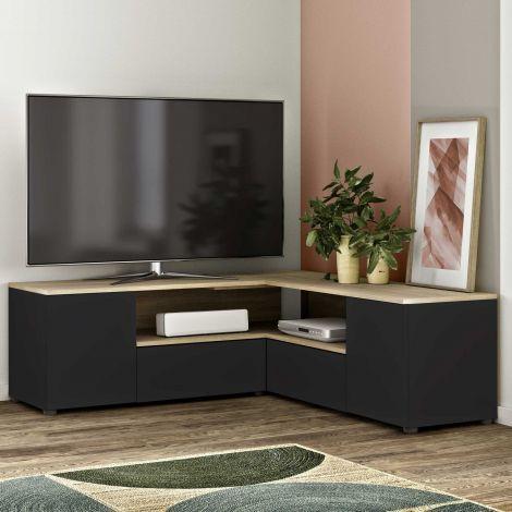 Meuble TV Cleo 130cm - noir/chêne