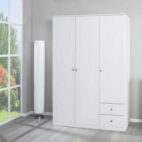 Armoire à vêtements Marega 138cm 3 portes & 2 tiroirs - blanc