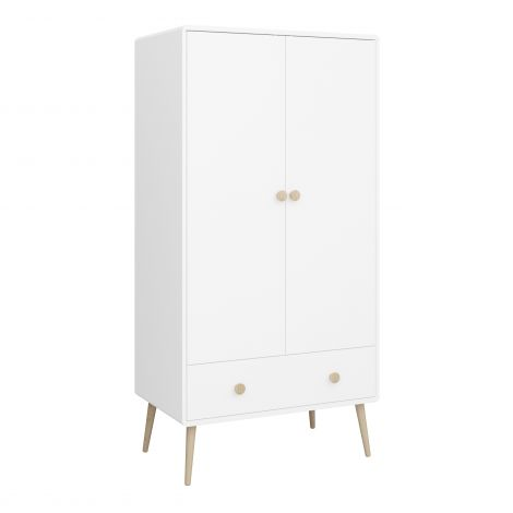 Garde-robe Gustaf 80cm avec 2 portes & 1 tiroir - blanc