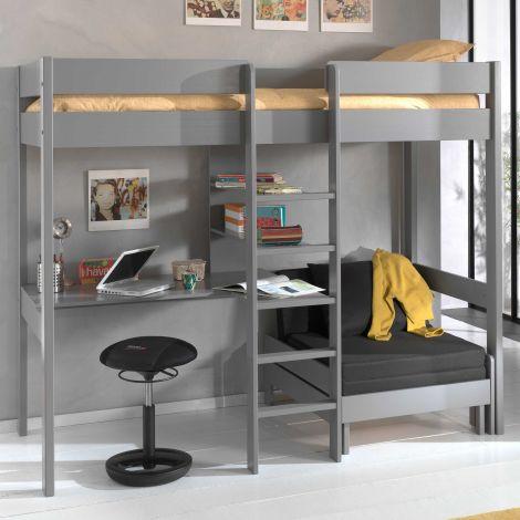 Lit mezzanine Lena avec canapé-lit -gris