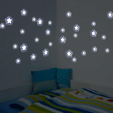 Stickers muraux 3D Stars phosphorescents