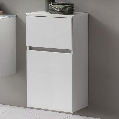 Armoire salle de bains Kornel 40cm 1 porte & 1 tiroir - blanc