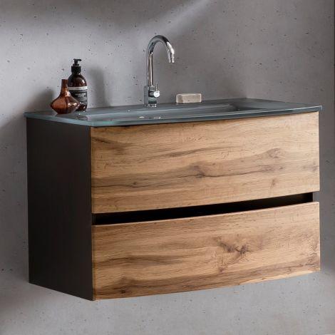Meuble vasque Kornel 80cm avec vasque grise - gris graphite/chêne
