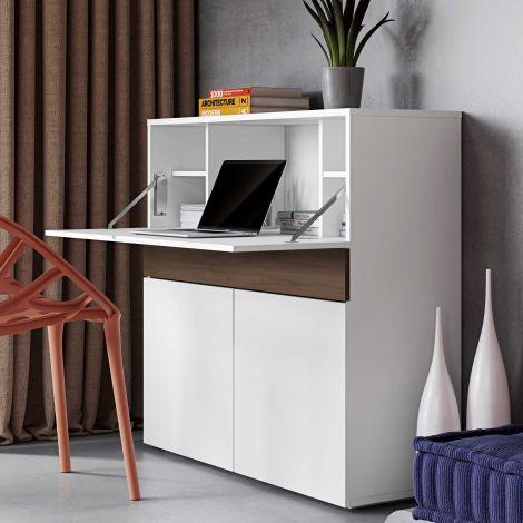 Bureau/meuble de rangement Fox 110cm - blanc/noyer