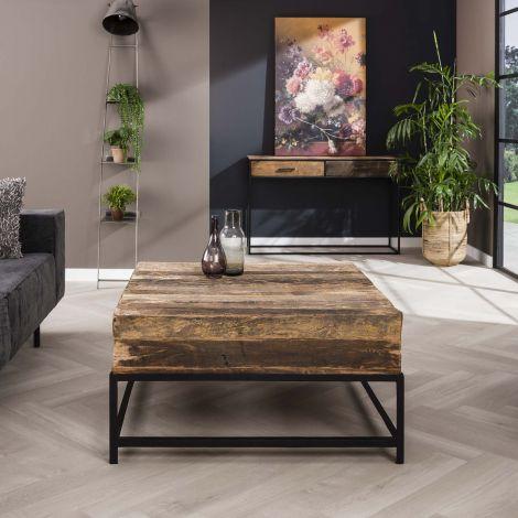Table basse carrée Lodge 90cm bois recyclé