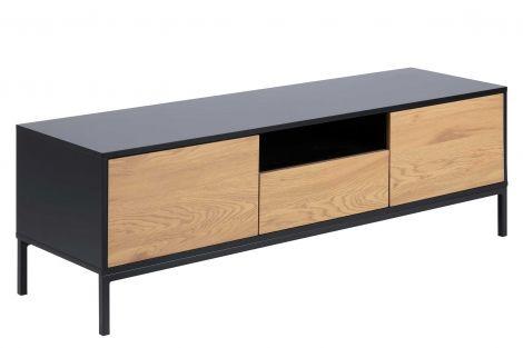 Meuble TV Dover 140cm 2 portes 1 tiroir industriel - noir/chêne sauvage