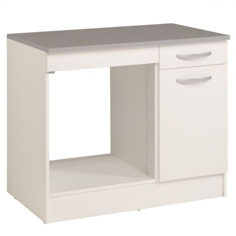 Meuble bas Oke pour four 100 cm avec tiroir et porte - blanc