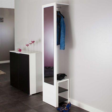 Vestiaire Vestibulo avec miroir - blanc/noir