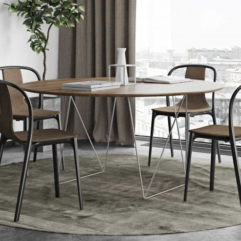 Table à manger Row Ø150 - noyer/chrome