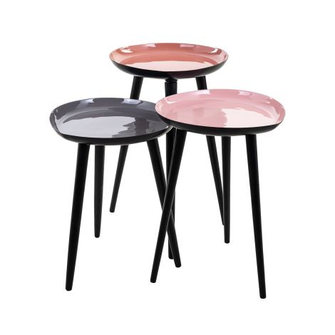 Lot de 3 tables d'appoint Trudeau - gris/rouge/rose