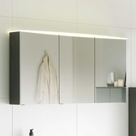 Armoire de toilette Florent courbée 120cm 3 portes & barre LED - graphite