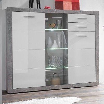 Armoire vitrine Stanno 137cm avec 3 portes & 2 tiroirs - béton/blanc
