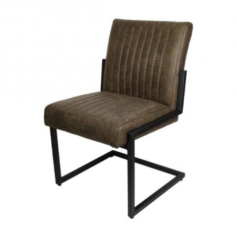 Lot de 2 chaises de repas Texas Yacht cuir/métal - kaki