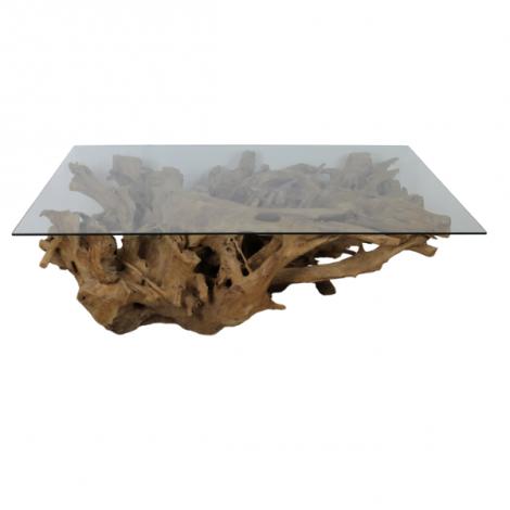 Table basse Henk 120x70 - verre/racine de teck