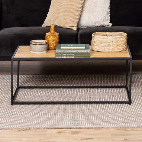 Table basse Dover 100x50 industriel - noir/chêne sauvage