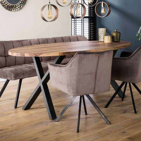 Table à manger ovale Dahlia 200cm - noyer