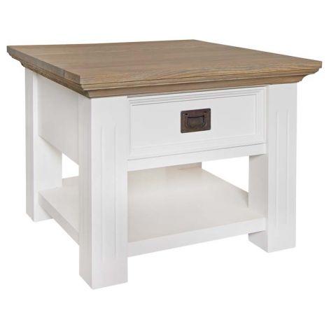 Table d'appoint Oakdale 60x60cm 1 tiroir - blanc/chêne