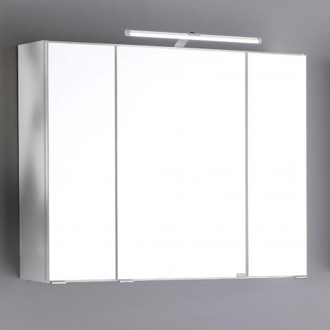 Armoire de toilette Bobbi 80cm modèle 2 3 portes & eclairage LED - blanc