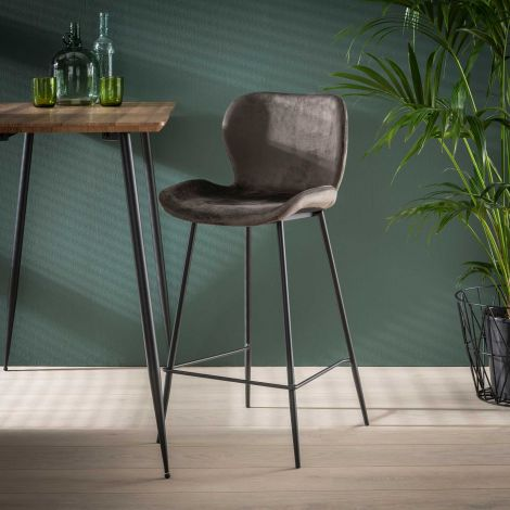 Tabouret de bar velours rond tube - Lot de 4 - Anthracite velvet