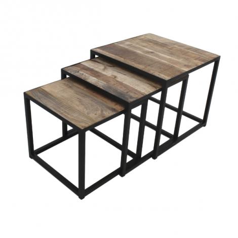 Lot de 3 tables basses Assos - bois de manguier/fer