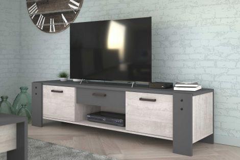 Meuble TV Vienna 180cm industriel - gris