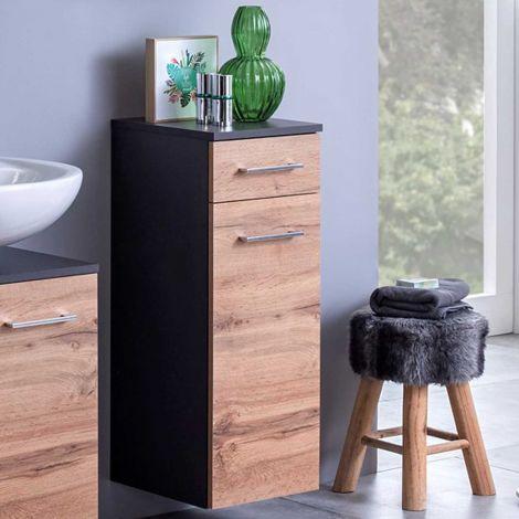 Armoire salle de bains Pares 30cm 1 porte & 1 tiroir - graphite/chêne wotan
