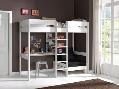 Lit mezzanine Lena avec canapé-lit - blanc