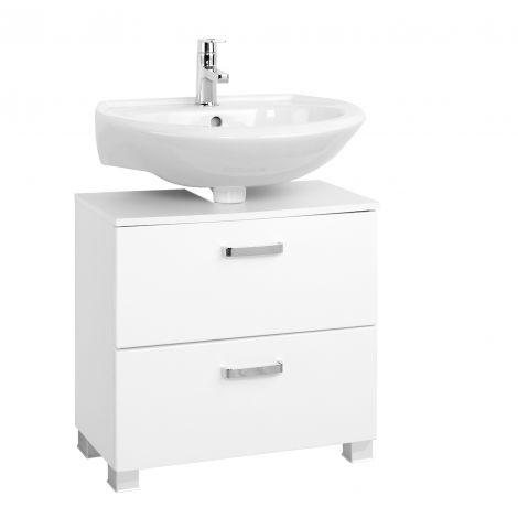 Meuble sous lavabo Bobbi 60cm 1 porte et 1 tiroir à fermeture douce - blanc