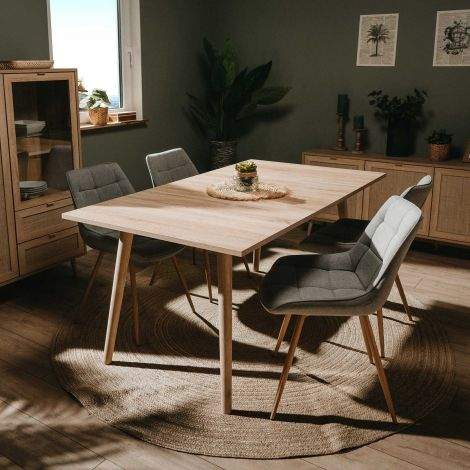 Table à manger Bilal 160x90 - chêne/rafia