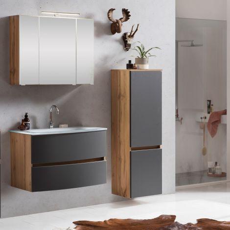 Ensemble salle de bains Kornel 3 à 3 pièces avec vasque blanche - chêne/gris mat