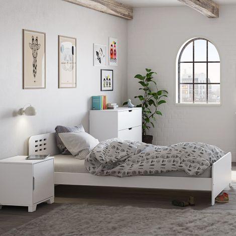 Lit simple Loki 90x200 - blanc
