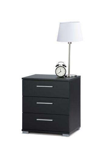 Table de chevet Elora 3 tiroirs - noir