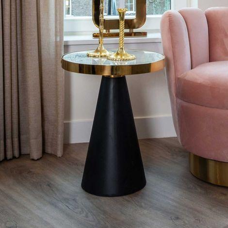 Table d'appoint Odis ø45cm - blanc/or/noir