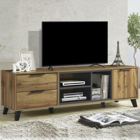 Meuble tv Vitos 160cm à 2 tiroirs et 1 porte - brun