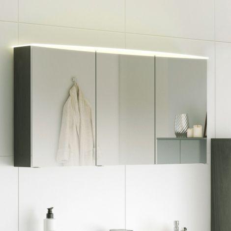Armoire de toilette Florent courbée 100cm 3 portes & barre LED - graphite