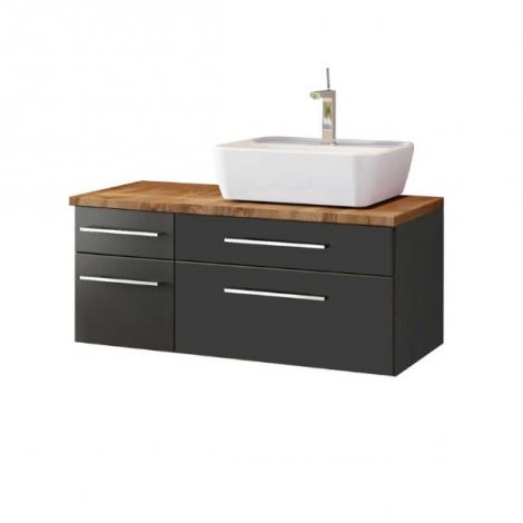 Meuble lavabo Dasa (droit) 90cm à 4 tiroirs - graphite/gris mat