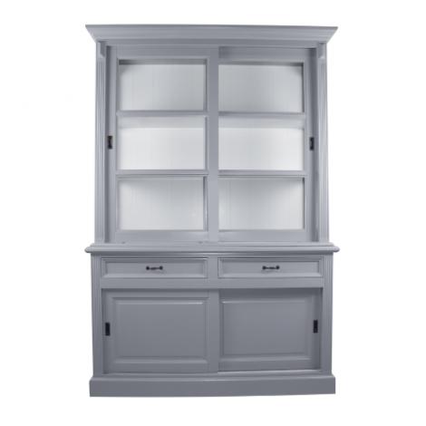 Vaisselier Provence 150cm à 4 portes & 2 tiroirs - gris/blanc