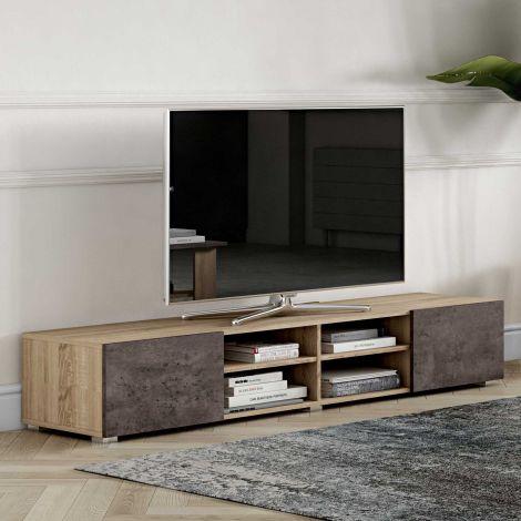 Meuble TV Podium 185 cm - chêne/béton